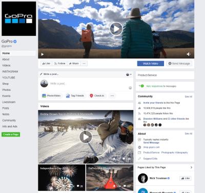 GoPro facebook page